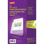 "Staples® 5 1/2"" x 8 1/2"" Bound Sheet Protectors"