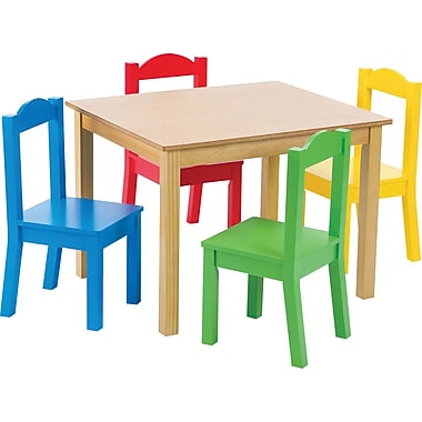 Tot Tutors Children Table & 4 Chairs, Pastel Colours