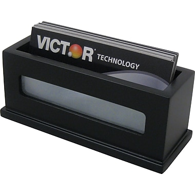 Victor® Wood Desk Accessories Business Card Holder, Midnight Black