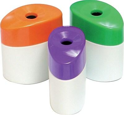 Baumgartens Single Hole Pencil Sharpener With Receptacle Assorted Colors, 6 EA/BD 140078