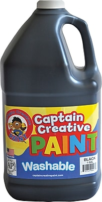 Captain Creative Non-toxic 128 oz. Washable Paint, Black (CCR9000G)