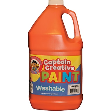 Captain Creative Non-toxic 128 oz. Washable Paint, Orange (CCR9050G)