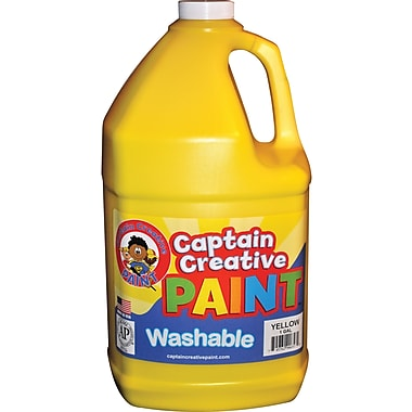 Captain Creative Non-toxic 128 oz. Washable Paint, Yellow (CCR9065G)