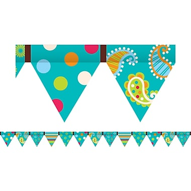 Creative Teaching Press Toddler - 12th Grades Pennant Border, Dots On Turquoise, 72/Pack (CTP7144)