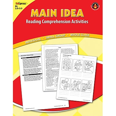 Edupress Main Idea Reading Comprehension Activities Book, Grades 1st - 3rd, Red Level