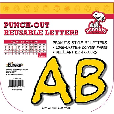 Eureka Peanuts Reusable Punch Out Deco Letters, Yellow (EU-845066)