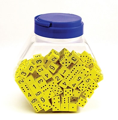 Yellow Spot & Number 16mm Foam Dice, Tub of 200