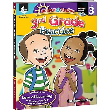 Shell Education® Bright and Brainy Practice Book and CD, Grades 3rd