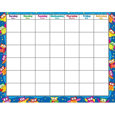Trend Enterprises® Owl Stars!™ Monthly Wipe Off® Calendar, Blank