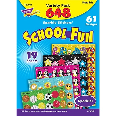 Trend Enterprises Sparkle Stickers, School Fun Variety Pack, 1296/Pack (T-63904)