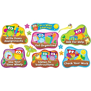 Trend Enterprises Bulletin Board Set, Owl-Stars Study Habits, 14/Pack (T-8361)