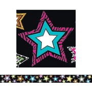 "Teacher Created Resources TCR5218 35"" x 3"" Straight Fancy Stars Border Trim, Multicolor"