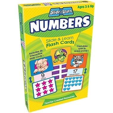 Teacher Created Resources® Numbers Slide & Learn Flash Cards, Grades Babies/Toddlers-Kindergarten
