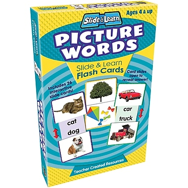 Teacher Created Resources® Picture Words Slide & Learn Flash Cards, Grades Babies/Toddlers - K