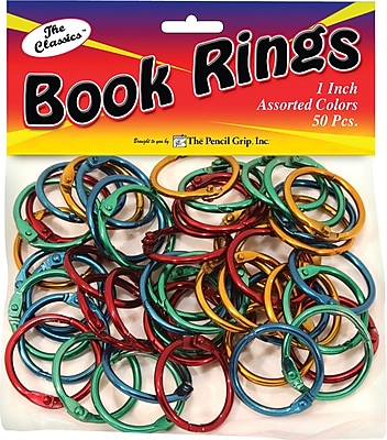 Book Rings, Assorted Colors, 50/Pack