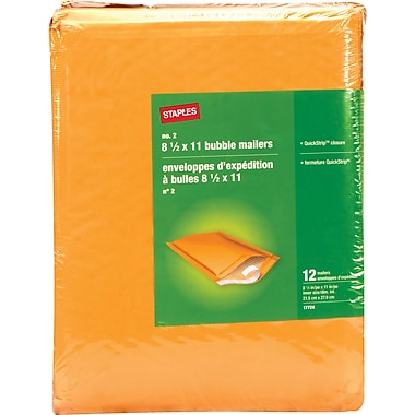 Staples® - Enveloppes à bulles QuickStrip Bubble Wrap*, n° 2, 8 1/2 po x 11 po, paq./12