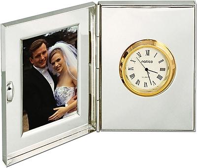 Natico 10-107 Analog Table/Travel Clock, Silver