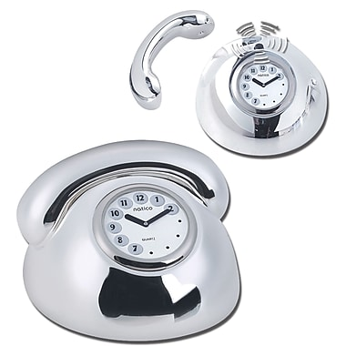 Natico Polished Silver Metal Telephone Clock