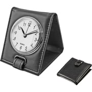 Natico Faux Leather Folding Alarm Clock, Black