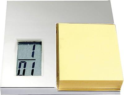 Natico 10-1326MP Digital LCD Desk Alarm Clock with Notepad, Silver