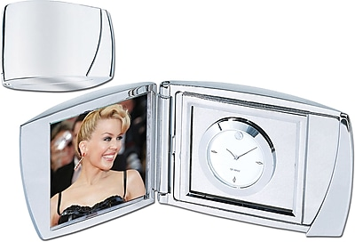 Natico Le Punc Analog Clock With Frame, Silver