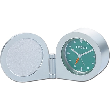Natico 10-150TIN Analog Travel Clock, Matte Silver