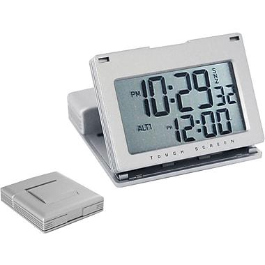 Natico 10-166 Digital Touch Panel Travel Alarm Clock, Matte Silver