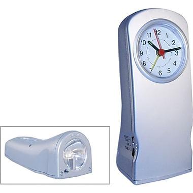 Natico 10-212 Analog Alarm Clock with Flashlight and Night Light, Matte Silver