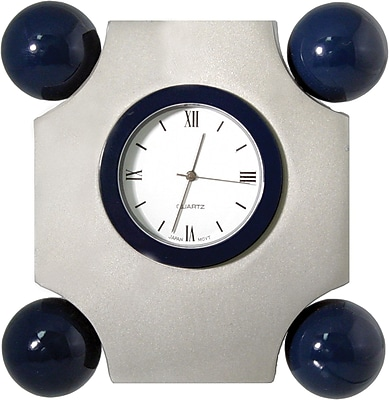 Natico Art Deco Desk Clock, Matte Silver, Blue