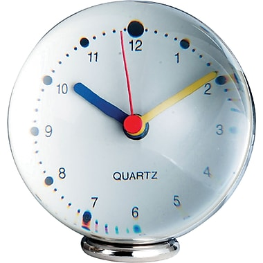 Natico 10-368 Plexiglass Analog Table Clock, Silver
