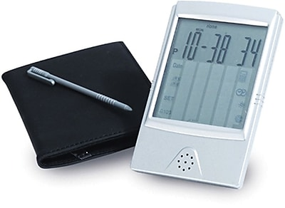 Natico 10-662 Digital Touch Screen Travel Alarm Clock and Calculator, Matte Silver