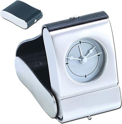 Natico 10-82690 Metal Digital Folding Travel Clock, Silver/Black