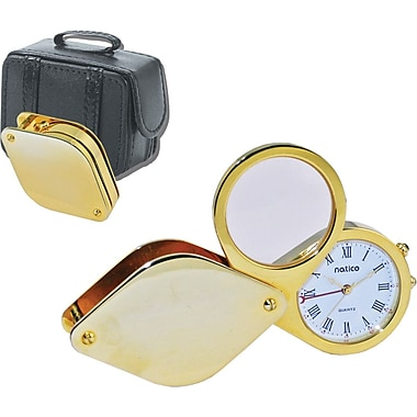 Natico Travel Alarm Clock With Magnifier and Leather Case, Gold