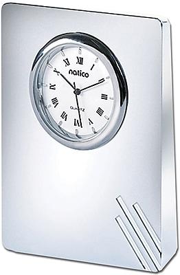 Natico 10-908L Analog Contempo II Desk Clock, Silver