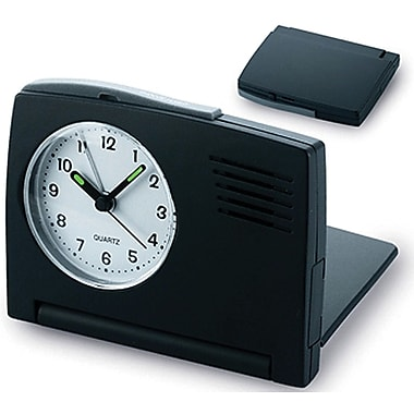 Natico 10-A151 Analog Folding Travel Alarm Clock, Black