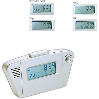 Natico 10-AC124 Digital Event Countdown Desk Alarm Clock, Silver