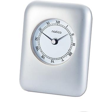 Natico 10-P604 Analog Contempo Alarm Clock, Pearl Silver