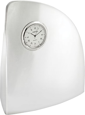 Natico Wave Desk Clock, Silver