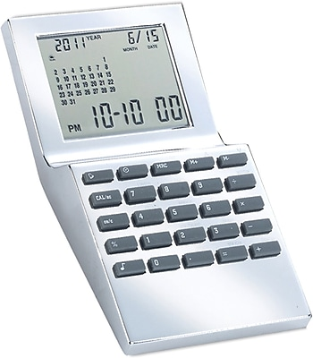 Natico Multi Functional World Time Clock, Silver
