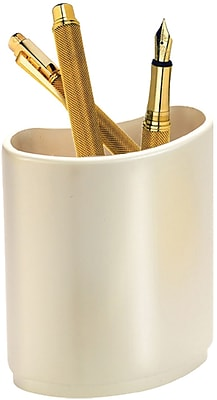 Natico Desk Pen and Pencil Holder, Pearl Silver