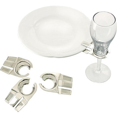 Natico Set of 4 Glass Clip Holder, Silver