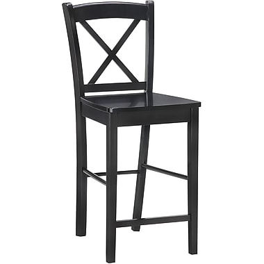 Linon X Back Wood Counter Stool, Black