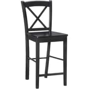 Linon X Back Wood Bar Stool, Black