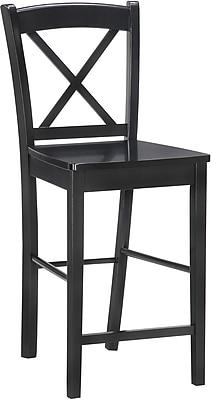 Linon X Back Wood Bar Stool, Black