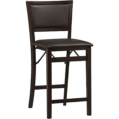 Linon Triena Vinyl Pad Back Folding Counter Stool, Dark Brown