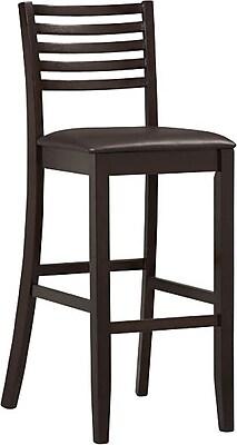 Linon Triena PVC Ladder Bar Stool; Dark Brown