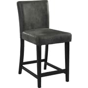 Linon Morocco PVC Counter Stool, Black, Charcoal