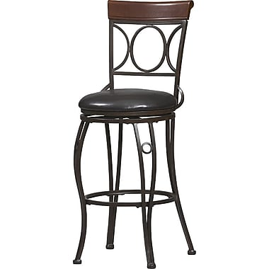 Linon Circles Back PVC Bar Stool, Brown