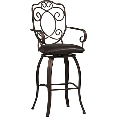 Linon Crested Back PVC Bar Stool, Dark Brown