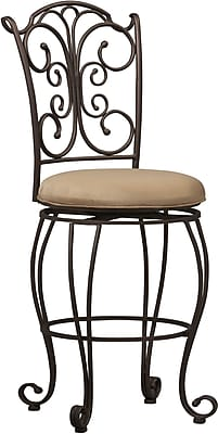 Linon Gathered Back Metal Counter Stool, Light Brown/Caramel
